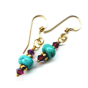 Hot Pink and Turquoise 14 K Gold Filled Earrings Women - Jewelry - Earrings