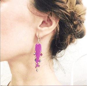 Hot Pink Tassel Chain Crystal Earrings Women - Jewelry - Earrings