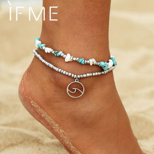 IF ME Bohemian Multilayers Wave Stone Anklets for Women Boho Silver Color Beads Chain Bracelet on Leg Sexy Beach Ankle Jewelry