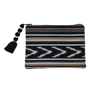 Ikat Backstrap Clutch Black + Tan Women - Bags - Clutches & Evening
