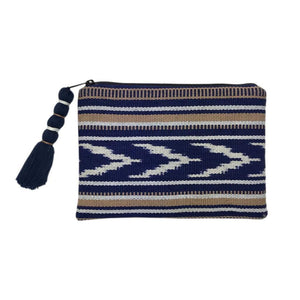 Ikat Backstrap Clutch Indigo + Tan Women - Bags - Clutches & Evening