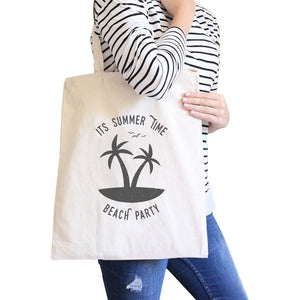It's Summer Time Beach Party Natural Canvas Bags Women - Bags - Totes