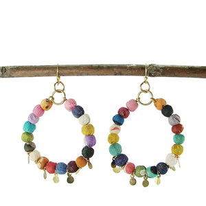 Kantha Disc Hoop Earrings (GC) WorldFinds