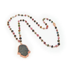 Labradorite Hamsa on Tourmaline Chain Women - Jewelry - Necklaces