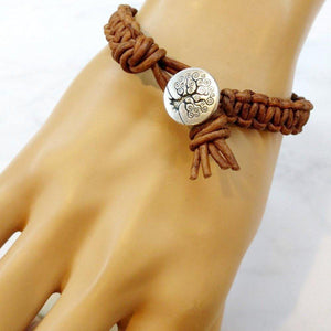Large  Tree of Life Earth Colored Macrame Leather Bracelet Men - Jewelry - Bracelets