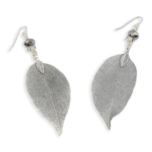 Leaf Earrings with Sterling Silver French Wires antique silver Women - Jewelry - Earrings