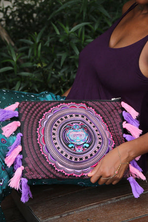Lilac Dream Tassel Oversized Clutch Bags