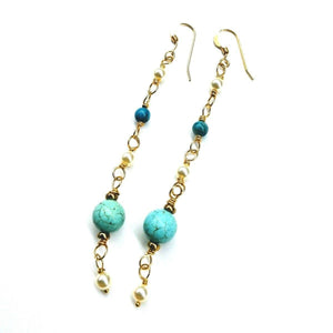 Long 14 K Gold Filled Turquoise Pearl Earrings Women - Jewelry - Earrings