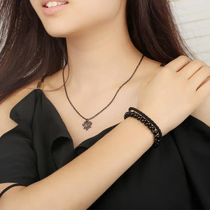 Lotus Flower Charm Necklace Pendant Black