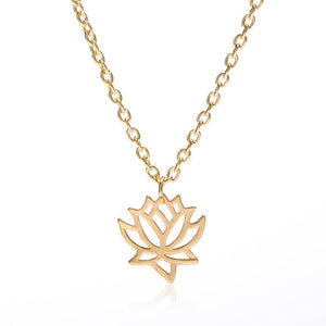 Lotus Flower Charm Necklace Pendant Gold