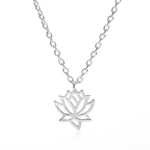 Lotus Flower Charm Necklace Pendant Silver
