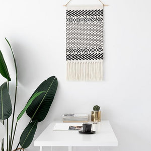 Macrame Tapestry with Tassels - Nordic Woven Tapestry Tapestry