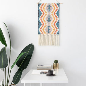 Macrame Tapestry with Tassels - Nordic Woven Tapestry Tapestry [200844060] Tapestry