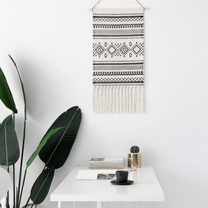 Macrame Tapestry with Tassels - Nordic Woven Tapestry Tapestry [29] Tapestry