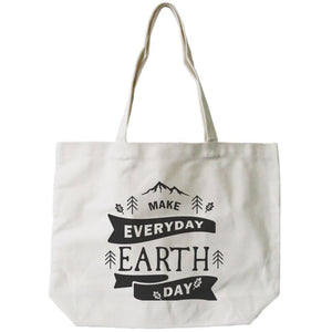 Make Everyday Earth Day Canvas Bag Natural Canvas Tote Cute Bag for School Women - Bags - Totes