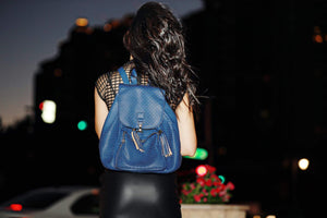 Mechaly Women's Jamie Blue Vegan Leather Backpack Women - Bags - Backpacks