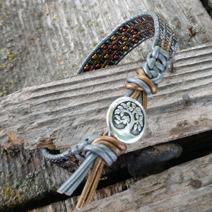 Mens Tree of Life Earth Colored Beaded Leather Wrap Bracelet Men - Jewelry - Bracelets
