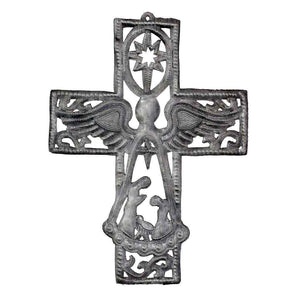 "Metal Cross with Angel and Nativity Scene (10"" x 14"")  (GC) Metal Wall Art"