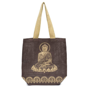 Metallic Buddha Jute Tote - Mocha Brown (GC) Bags