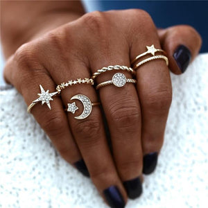 Moon & Stars Boho Ring Set Gold Anillos