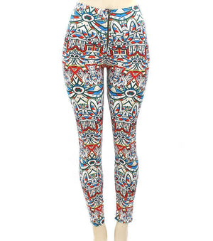 Multi Colored Tribal Print Zipper Leggings Women - Apparel - Pants - Leggings