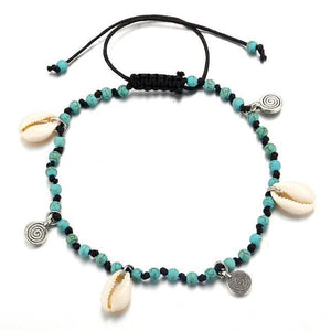 Multicolor Shell Anklet in 9 Colors Blue Pulsera de tobillo