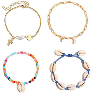 Multicolor Shell Anklet in 9 Colors Pulsera de tobillo