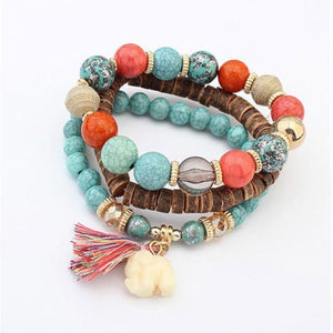 Multilayered Bead Bracelet With Elephant Charm Blue / one-size bracelet