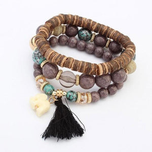 Multilayered Bead Bracelet With Elephant Charm Coffee / one-size bracelet