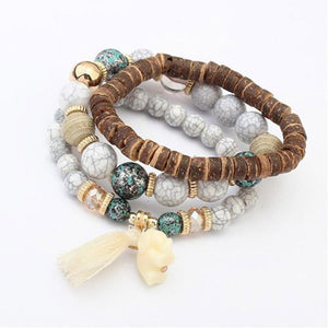 Multilayered Bead Bracelet With Elephant Charm White / one-size bracelet