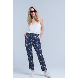 Navy blue pants with floral print Women - Apparel - Pants - Trousers
