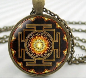 NS 00806 chakra Spiritual Buddhist Sri Yantra Pendant Necklace Sacred Geometry Sri Yantra Jewelry meditation Necklace HZ1 1 / Silver Pendant Necklaces