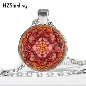 NS 00806 chakra Spiritual Buddhist Sri Yantra Pendant Necklace Sacred Geometry Sri Yantra Jewelry meditation Necklace HZ1 10 / Silver Pendant Necklaces