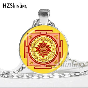 NS 00806 chakra Spiritual Buddhist Sri Yantra Pendant Necklace Sacred Geometry Sri Yantra Jewelry meditation Necklace HZ1 11 / Silver Pendant Necklaces