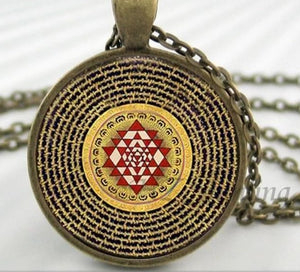 NS 00806 chakra Spiritual Buddhist Sri Yantra Pendant Necklace Sacred Geometry Sri Yantra Jewelry meditation Necklace HZ1 2 / Silver Pendant Necklaces