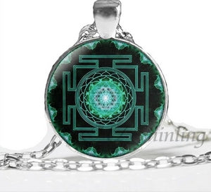 NS 00806 chakra Spiritual Buddhist Sri Yantra Pendant Necklace Sacred Geometry Sri Yantra Jewelry meditation Necklace HZ1 3 / Silver Pendant Necklaces