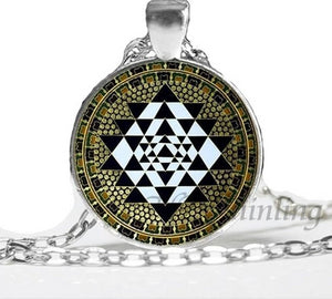 NS 00806 chakra Spiritual Buddhist Sri Yantra Pendant Necklace Sacred Geometry Sri Yantra Jewelry meditation Necklace HZ1 4 / Silver Pendant Necklaces