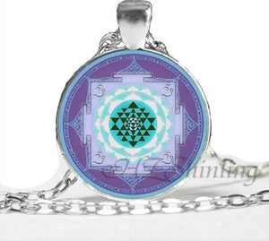 NS 00806 chakra Spiritual Buddhist Sri Yantra Pendant Necklace Sacred Geometry Sri Yantra Jewelry meditation Necklace HZ1 5 / Silver Pendant Necklaces