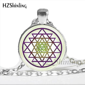 NS 00806 chakra Spiritual Buddhist Sri Yantra Pendant Necklace Sacred Geometry Sri Yantra Jewelry meditation Necklace HZ1 6 / Silver Pendant Necklaces