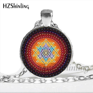 NS 00806 chakra Spiritual Buddhist Sri Yantra Pendant Necklace Sacred Geometry Sri Yantra Jewelry meditation Necklace HZ1 7 / Silver Pendant Necklaces