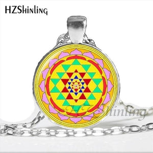 NS 00806 chakra Spiritual Buddhist Sri Yantra Pendant Necklace Sacred Geometry Sri Yantra Jewelry meditation Necklace HZ1 8 / Silver Pendant Necklaces