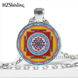 NS 00806 chakra Spiritual Buddhist Sri Yantra Pendant Necklace Sacred Geometry Sri Yantra Jewelry meditation Necklace HZ1 9 / Silver Pendant Necklaces
