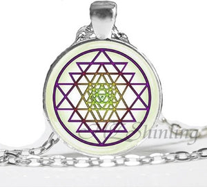 NS 00806 chakra Spiritual Buddhist Sri Yantra Pendant Necklace Sacred Geometry Sri Yantra Jewelry meditation Necklace HZ1 Pendant Necklaces