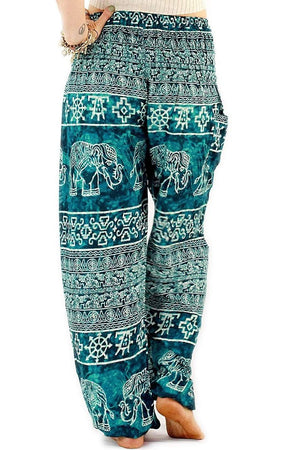 Ocean Blue Ancient Elephant Harem Pants Standard / Blue Harem Pants
