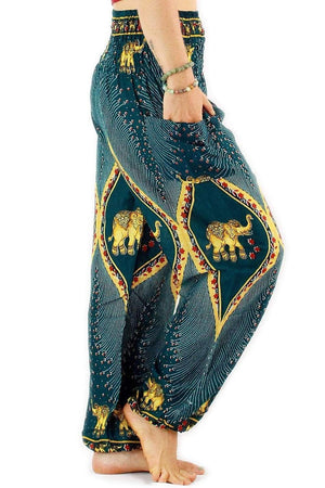 Ocean Blue Goddess Elephant Harem Pants Standard / Blue Harem Pants