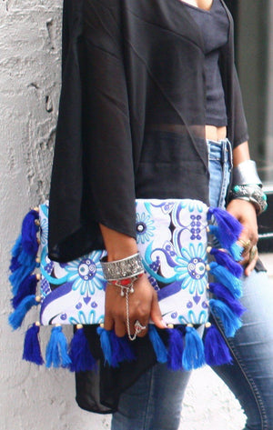 Ocean Wave Fringe Oversized Clutch Bags