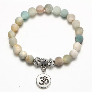 Om Charm Wrap Bracelet with Natural Stone Beads FCS152 Strand Bracelets