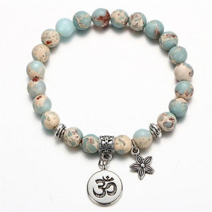 Om Charm Wrap Bracelet with Natural Stone Beads FCS155 Strand Bracelets