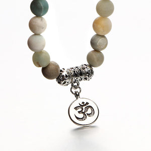 Om Charm Wrap Bracelet with Natural Stone Beads Strand Bracelets