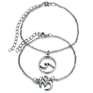 Om &  Wave Bohemian Beach Anklet in Silver FCS194 Anklets